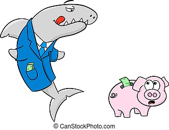 smiling financial shark and frightened piggy bank