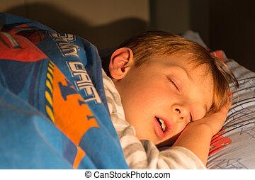 dormitorio, sueño, niño, Cama,  8, años