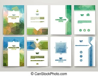 Set of brochures in poligonal style on Agriculture theme...