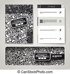 Vector template with hand drawn doodles football theme.