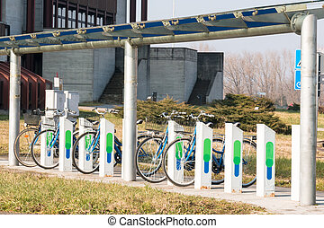 Bicycle parking in city, ecological mobility
