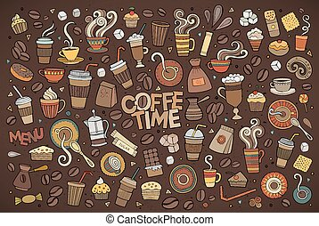 Colorful vector hand drawn Doodle cartoon set of objects and...
