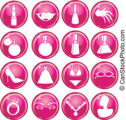 Beauty Button Icons - 16 Vector Silhouette Icon Buttons for...