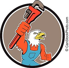 Bald Eagle Plumber Monkey Wrench Circle Cartoon -...