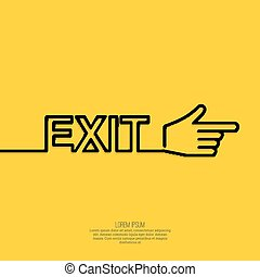 Emergency exit sign. - Emergency exit sign with a pointing...