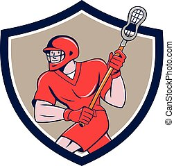 Lacrosse Player Crosse Stick Running Shield Cartoon -...