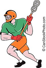 Lacrosse Player Crosse Stick Running Cartoon - Illustration...