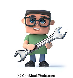 3d Boy in glasses holding a spanner