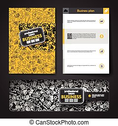 Vector template with hand drawn doodles business theme.