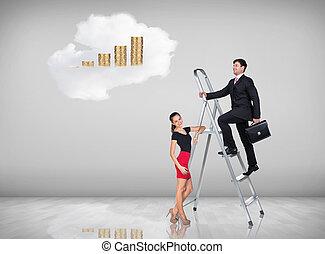 Businessman climbing a ladder - Businessman with woman...