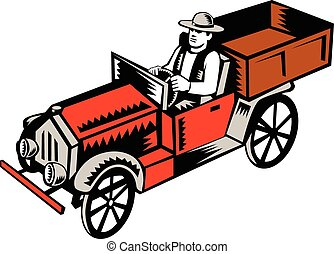 Vintage Pick Up Truck Driver Woodcut - Illustration of a...