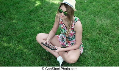 Young Student Playing Games On Tab - Attractive young...
