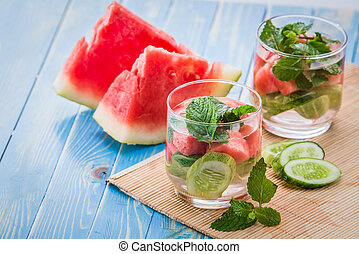 infused water mix of cucmber, watermelon and mint leaf -...