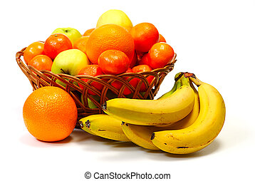 Basket with fruits, isolated on white