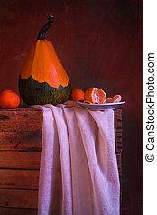 Still life fruit orange pumpkin