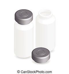 Illustration of ampules, bottles, vials isolated on white...
