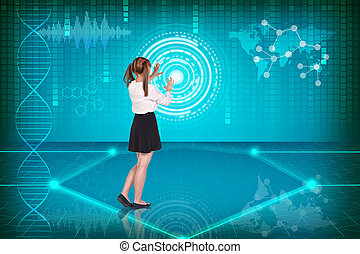 Virtuality - Businesswoman pressing high tech type of modern...