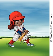 Girl playing baseball outdoor