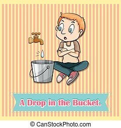 Water dropping in bucket illustration