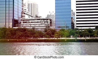 Bangkok cityscape with pond - Bangkok cityscape with pond...