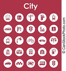 Set of city simple icons - It is a set of city simple web...