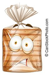 Bread package with scared face illustration