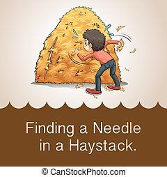 Finding needle in haystack illustration