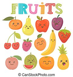 Cute kawaii smiling fruits. Healthy style collection. Vector...