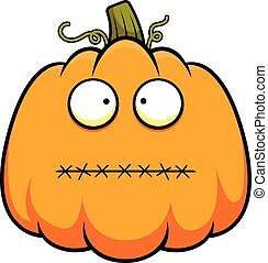 Cartoon Pumpkin Mouth Sewn Shut - Cartoon illustration of a...