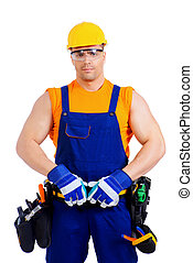labor - Portrait of an industrial worker posing with...