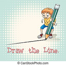 Boy drawing a line illustration