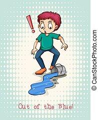 Man spill blue color illustration