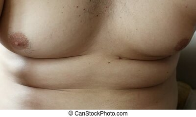 Close up of fat belly men with stretch marks