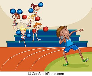 Cheerleaders cheering a game illustration