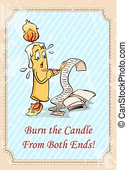 Burn the candle from both ends illustration
