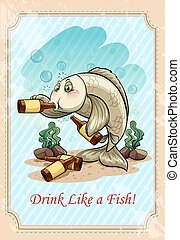 Drunk fish drinking alcohol - Drunk f ish drinking alcohol...