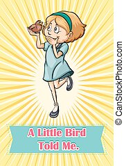 Bird saying someting to a girl illustration