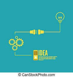 Bulb light idea with switch and gears. concept of big ideas...