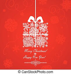 Christmas red card with gift box