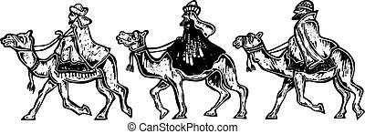 Woodcut Wisemen - A black and white woodcut style drawing of...