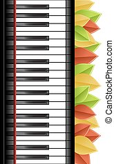 piano template - Template with piano keyboard and leaves on...