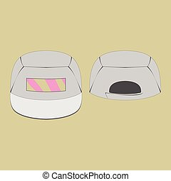 Grey cap with pink print