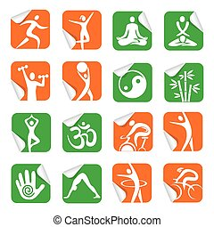 Stickers with yoga spa fitness icon - Set of colorful Square...