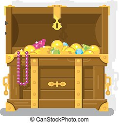 Treasure chest with gold coins. Chest and box, money and...