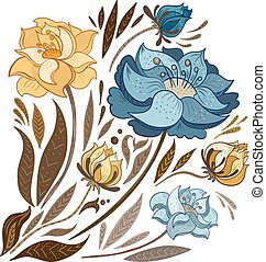 Vintage Fall Flowers Set - Vector sketch hand-painted floral...