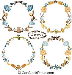 Fall Vector Wreath Set - Hand-painted sketch doodle floral...