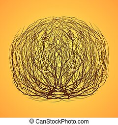 isolated tumbleweed - dry messy tumbleweed