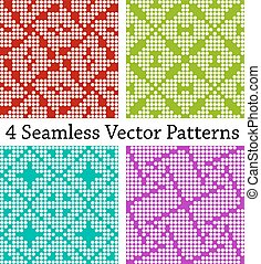 4 color seamless patterns set - 4 color square seamless...