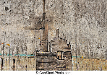Plywood texture - Weathered obsolete rough textured old...