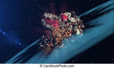 Asteroid collision in space - Two asteroids colliding and...